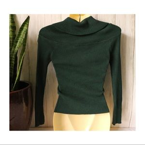 Shinestar Tops - Shine star Green Cowl-neck Ribbed long sleeve